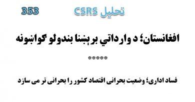 تحليل CSRS – شماره: ۳۵۳ (۱۸ اسد ۱۳۹۹ هـ ش)